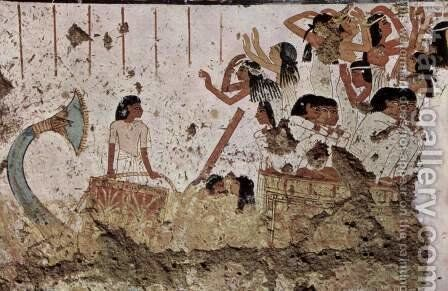 Journey of the dead, Detail by Egyptian Unknown Masters - Reproduction Oil Painting