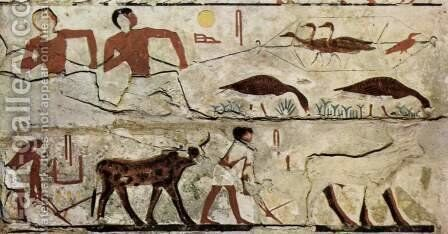 4th Dynasty of Egypt, Trapping birds and Plowing fields by Egyptian Unknown Masters - Reproduction Oil Painting