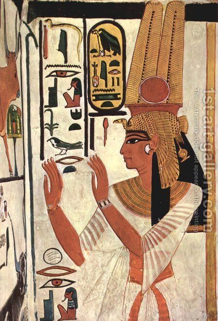 The Queen Nefertari in prayer stance by Egyptian Unknown Masters - Reproduction Oil Painting