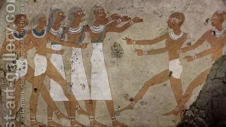 Grave chamber of Antefoker, Scene dancers by Egyptian Unknown Masters - Reproduction Oil Painting