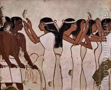 Grave chamber of Horemheb, a member of the Army under Thutmose IV, Scene funeral, detail wailing women by Egyptian Unknown Masters - Reproduction Oil Painting