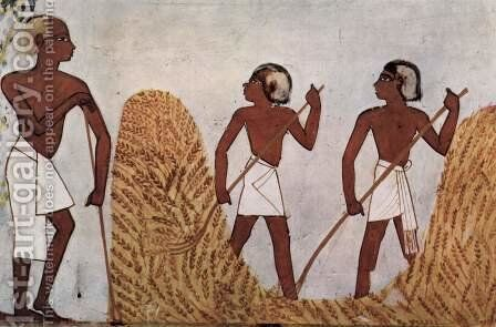 Grave chamber of Menna, scribe of the king's farm, scene working on the threshing floor by Egyptian Unknown Masters - Reproduction Oil Painting