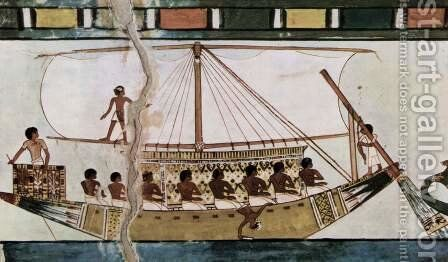 Stern-mounted steering oar riverboat of an Egyptian by Egyptian Unknown Masters - Reproduction Oil Painting