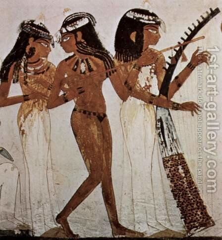 Grave chamber of the clerk Nakht, Three women with musical instruments, detail by Egyptian Unknown Masters - Reproduction Oil Painting