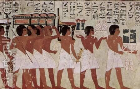 Grave chamber of Ramose, vizier and head of Thebes under Amenhotep III. and IV, Scene funeral procession, detail by Egyptian Unknown Masters - Reproduction Oil Painting