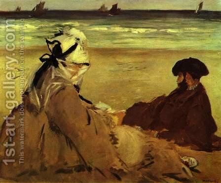 Sur la Plage on the beach by Edouard Manet - Reproduction Oil Painting