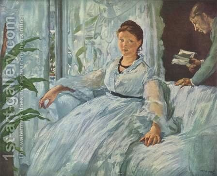 The Reading, La Lecture by Edouard Manet - Reproduction Oil Painting