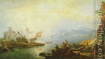 Estuary and harbor by Adrien Manglard - Reproduction Oil Painting