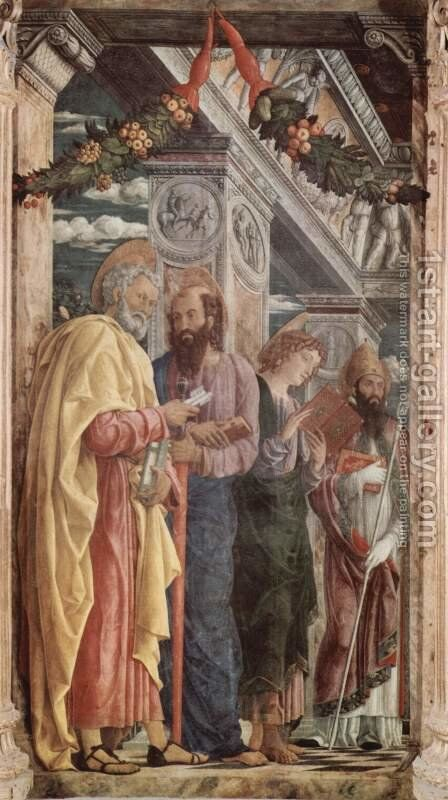 Altarpiece of San Zeno in Verona, triptych, left panel of St. Peter and St. Paul, St. John the Evangelist, St. Zeno by Andrea Mantegna - Reproduction Oil Painting