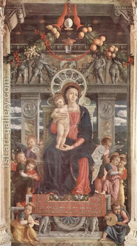 Altarpiece of San Zeno in Verona, triptych, middle panel Enthroned Madonna and Angels by Andrea Mantegna - Reproduction Oil Painting