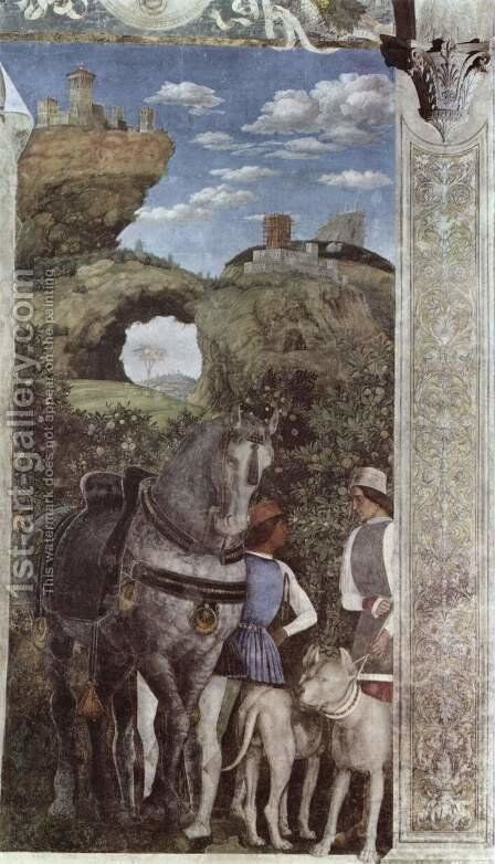 Frescoes in the Camera degli Sposi in the Palazzo Ducale in Mantua, scene Waiting grooms by Andrea Mantegna - Reproduction Oil Painting