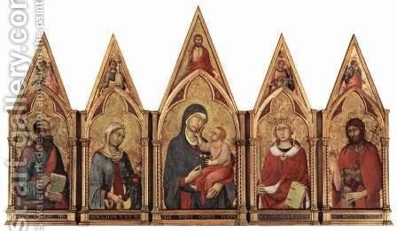 Altar of Boston, with blessing Maestetas Saviour and saints and angels in the tympanum by Simone Martini - Reproduction Oil Painting