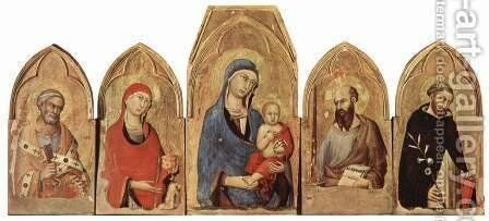 Altar of Orvieto, Scene Maestetas and saints, from left St. Peter and St. Mary Magdalene and the founder Trasmundo Monaldeschi by Simone Martini - Reproduction Oil Painting