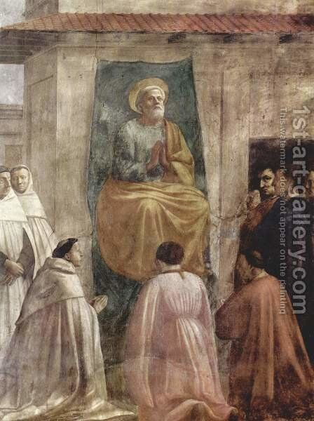 Frescoes of the Brancacci Chapel in Santa Maria del Carmine in Florence, scenes from the life of Peter, Peter in Cathedra scene by Masaccio (Tommaso di Giovanni) - Reproduction Oil Painting