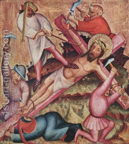 Passion altar, left wing, Scene Crucifixion by (Master of Minden) Bertram - Reproduction Oil Painting