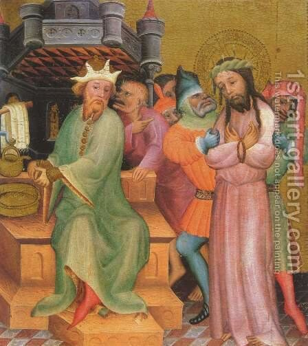 Passion altar scene, Christ before Pilate by (Master of Minden) Bertram - Reproduction Oil Painting