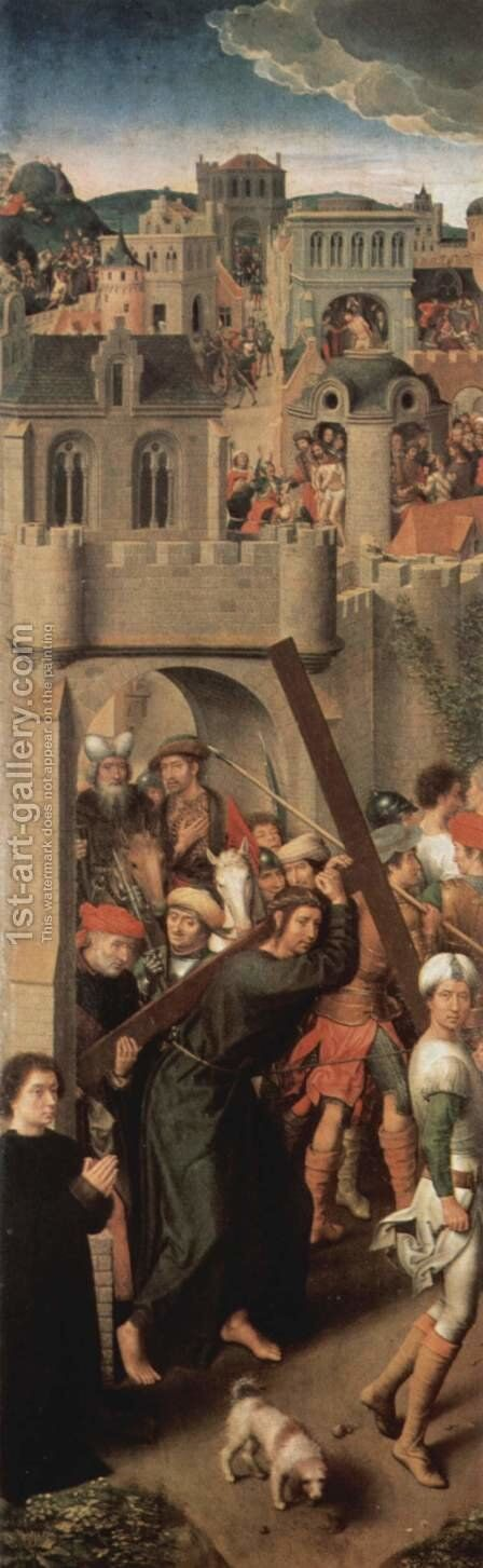 Altar triptych from the Lübeck Cathedral, now in the St. Annen-Museum, left wing of the Cross by Hans Memling - Reproduction Oil Painting