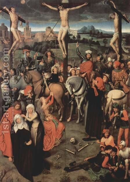 Altar triptych from the Lübeck Cathedral, now in the St. Annen-Museum, middle panel crucifixion by Hans Memling - Reproduction Oil Painting