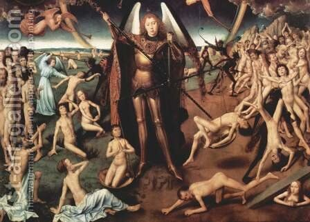 Last Judgment Triptych, central panel Maiestas Domini and Archangel Michael with the scales weighing the souls, Detail by Hans Memling - Reproduction Oil Painting