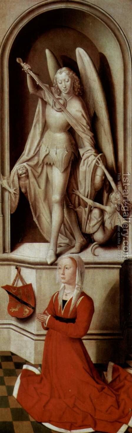 The Last Judgement, Triptych, right wing, inside praying founder Caterina Tanagli and Archangel Michael by Hans Memling - Reproduction Oil Painting