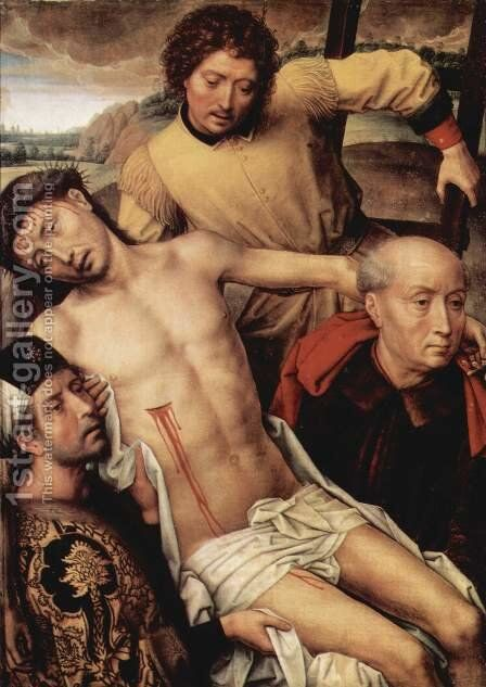 Granada-diptych, left wing Taking from the Cross by Hans Memling - Reproduction Oil Painting