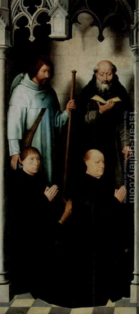 Triptych of the Mystical Marriage of St. Catherine of Alexandria, left upper, the founder Jacob de Kueninc and Anthony Seghers by Hans Memling - Reproduction Oil Painting
