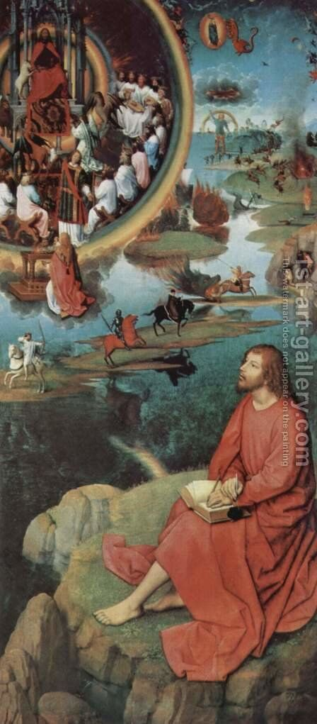 Triptych of the Mystical Marriage of St. Catherine of Alexandria, right wing, scene of St. John the Evangelist in Patmos by Hans Memling - Reproduction Oil Painting