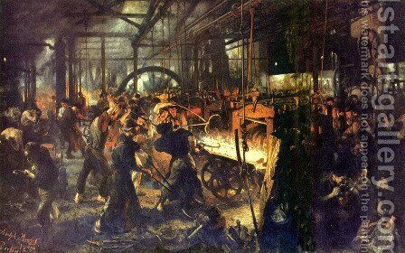 Steel Rolling Mill (Modern Cyclops) by Adolph von Menzel - Reproduction Oil Painting