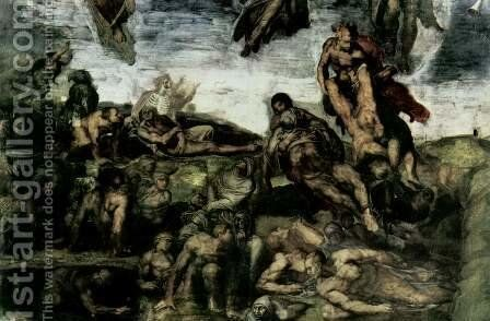 The Last Judgement fresco on the altar wall of the Sistine chapel, detail resurrection of the dead from their graves by Michelangelo - Reproduction Oil Painting