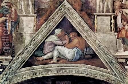 Ceiling fresco for the story of creation in the Sistine Chapel, Ancestors of Christ scene in Bezel by Michelangelo - Reproduction Oil Painting