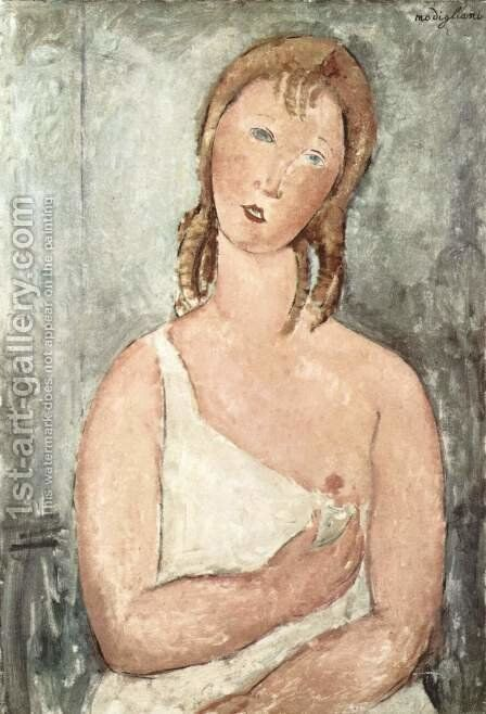 Girl (Giovana Rossa) in the shirt by Amedeo Modigliani - Reproduction Oil Painting