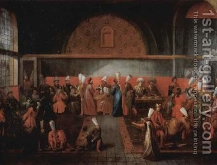 Reception of the French ambassador le Vicomte D'Andrezel by Sultan Ahmed III. on 10 October 1724, The Banquet of the Grand Vizier by Jean-Baptiste Van Mour - Reproduction Oil Painting
