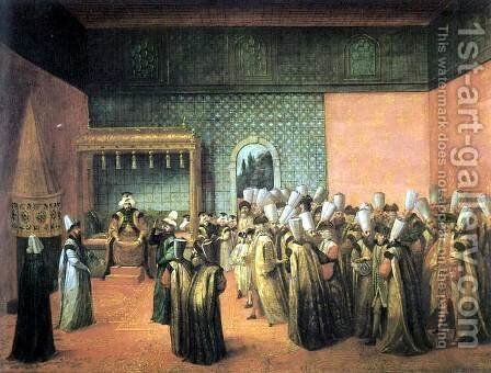 Reception of the French ambassador le Vicomte D'Andrezel by Sultan Ahmed III. on 10 October 1724, audience with the Sultan by Jean-Baptiste Van Mour - Reproduction Oil Painting