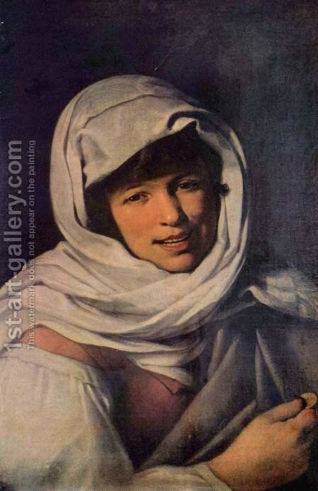 Girl with a coin (the Galician girl) by Bartolome Esteban Murillo - Reproduction Oil Painting