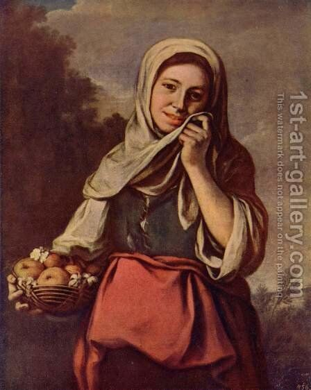 Girl with fruit and flowers by Bartolome Esteban Murillo - Reproduction Oil Painting