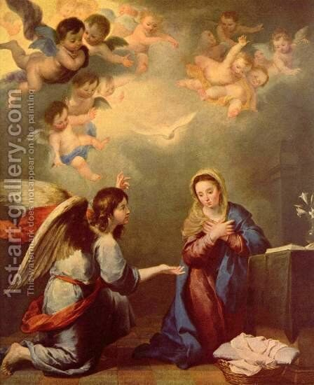 Annunciation, Detail by Bartolome Esteban Murillo - Reproduction Oil Painting