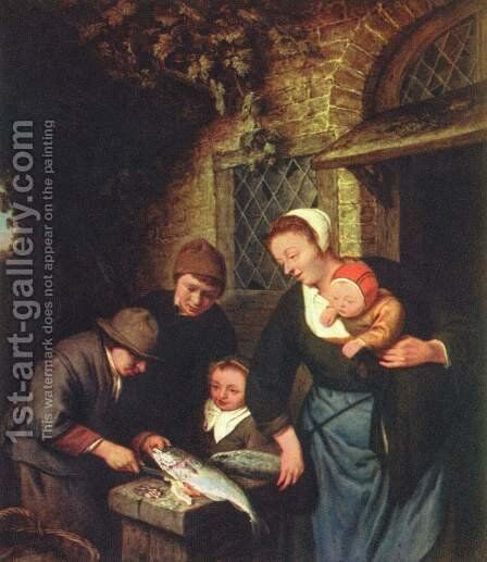 The fish seller by Adriaen Jansz. Van Ostade - Reproduction Oil Painting