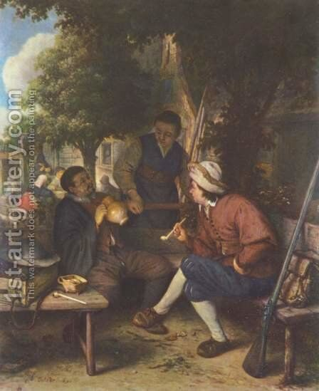 Resting wanderers by Adriaen Jansz. Van Ostade - Reproduction Oil Painting