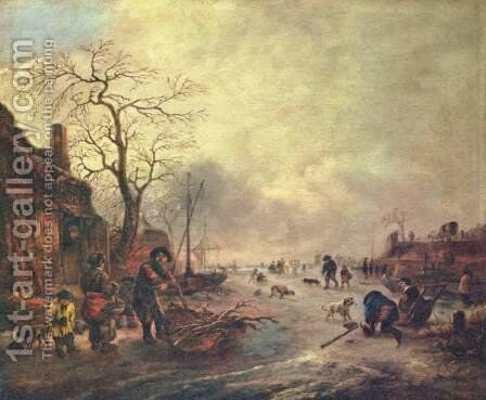 Amusement on the ice by Isaack Jansz. van Ostade - Reproduction Oil Painting