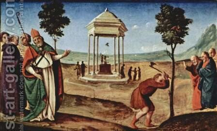 Pugliese-altar scene Madonna Enthroned, St. Peter and St. John the Baptist, St. Nicholas of Bari and St. Dominic, predella right scene by Piero Di Cosimo - Reproduction Oil Painting