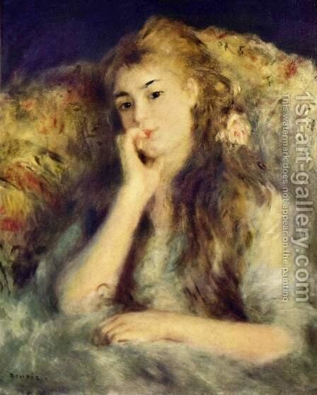 Portrait of a girl (in thought) by Pierre Auguste Renoir - Reproduction Oil Painting