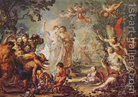Allegory of the Four Seasons by Johann Georg Platzer - Reproduction Oil Painting