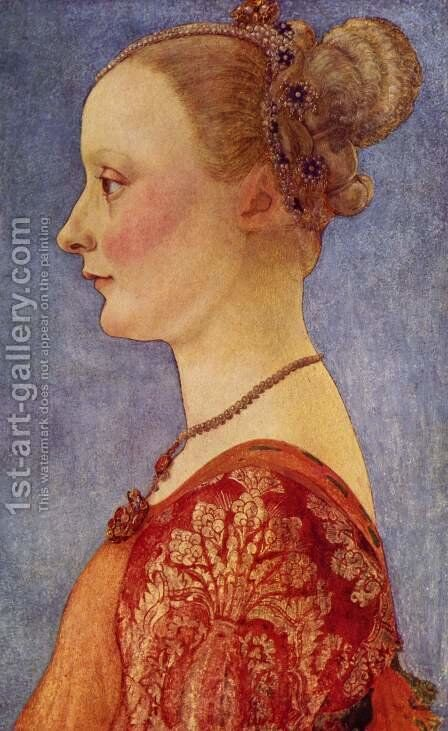 Portrait of a young lady by Antonio Del Pollaiuolo - Reproduction Oil Painting