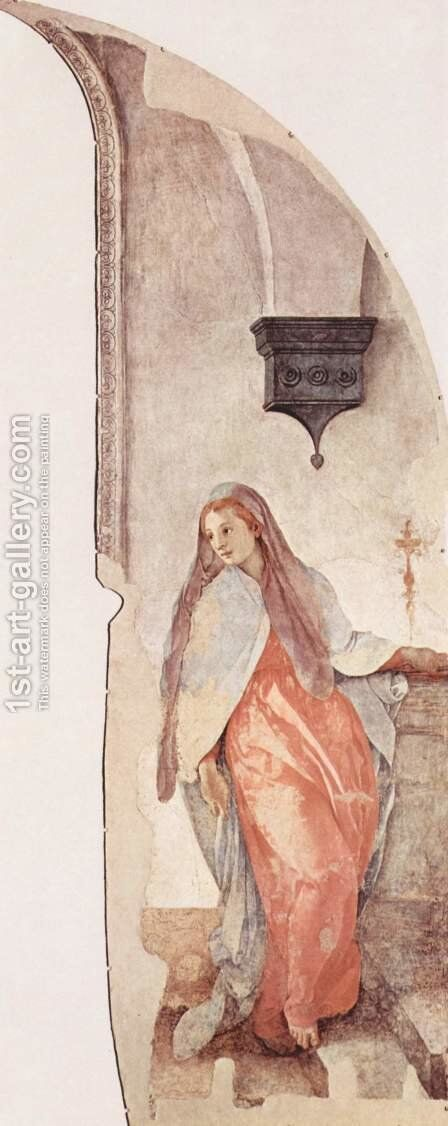 Frescoes of the chapel in Santa Felicita Cappioni in Florence, scene of the Annunciation, Detail of the Virgin Annunciation by (Jacopo Carucci) Pontormo - Reproduction Oil Painting