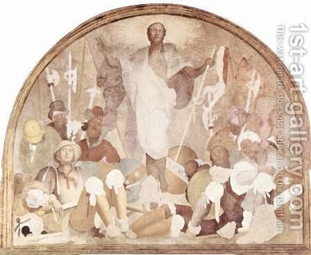Fresco cycle Passion of Christ in the Certosa del Galluzzo, resurrection scene, fragment by (Jacopo Carucci) Pontormo - Reproduction Oil Painting