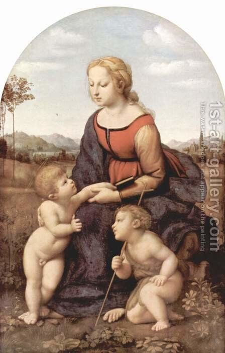 The beautiful gardener, scene with Mary and Christ child, John the Baptist by Raphael - Reproduction Oil Painting