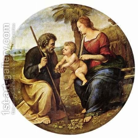 Holy Family under a palm tree, Tondo by Raphael - Reproduction Oil Painting
