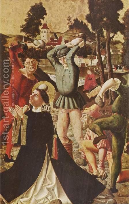 James and Stephen's Altar, Right Wing, lower scene stoning of St. Stephen by Marx Reichlich - Reproduction Oil Painting