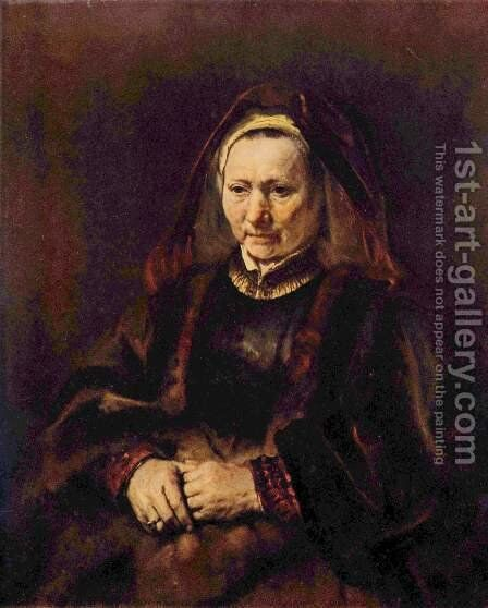 Portrait of a seated old woman by Rembrandt - Reproduction Oil Painting