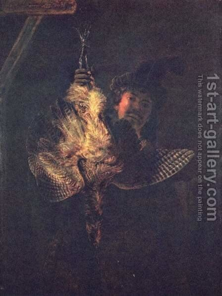 Self portrait with a dead bird by Rembrandt - Reproduction Oil Painting